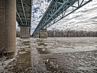 Ice Floes under the old Wabash River Bridge, West Lafayette, Indiana